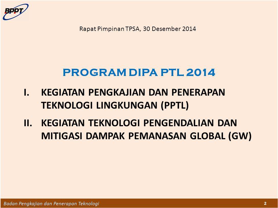 2 PROGRAM DIPA PTL 2014 I.KEGIATAN PENGKAJIAN DAN PENERAPAN TEKNOLOGI LINGKUNGAN (PPTL) II.KEGIATAN TEKNOLOGI PENGENDALIAN DAN MITIGASI DAMPAK PEMANAS