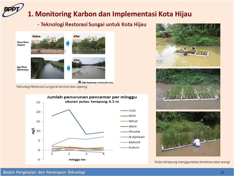 1.Monitoring Karbon dan Implementasi Kota Hijau - Teknologi Restorasi Sungai untuk Kota Hijau 20 Pulau terapung menggunakan tanaman akar wangi Teknolo
