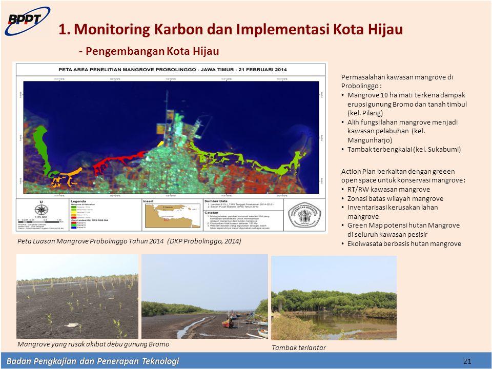 1.Monitoring Karbon dan Implementasi Kota Hijau - Pengembangan Kota Hijau Permasalahan kawasan mangrove di Probolinggo : Mangrove 10 ha mati terkena d