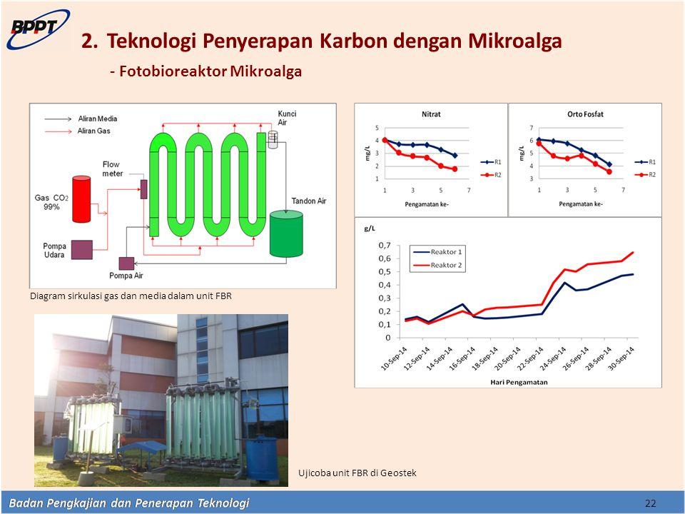 2.Teknologi Penyerapan Karbon dengan Mikroalga - Fotobioreaktor Mikroalga Diagram sirkulasi gas dan media dalam unit FBR Ujicoba unit FBR di Geostek 2