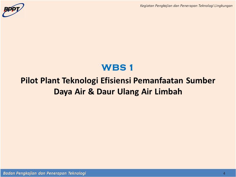 4 WBS 1 Pilot Plant Teknologi Efisiensi Pemanfaatan Sumber Daya Air & Daur Ulang Air Limbah Kegiatan Pengkajian dan Penerapan Teknologi Lingkungan