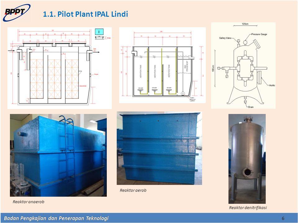1.1. Pilot Plant IPAL Lindi 6 Reaktor denitrifikasi Reaktor anaerob Reaktor aerob