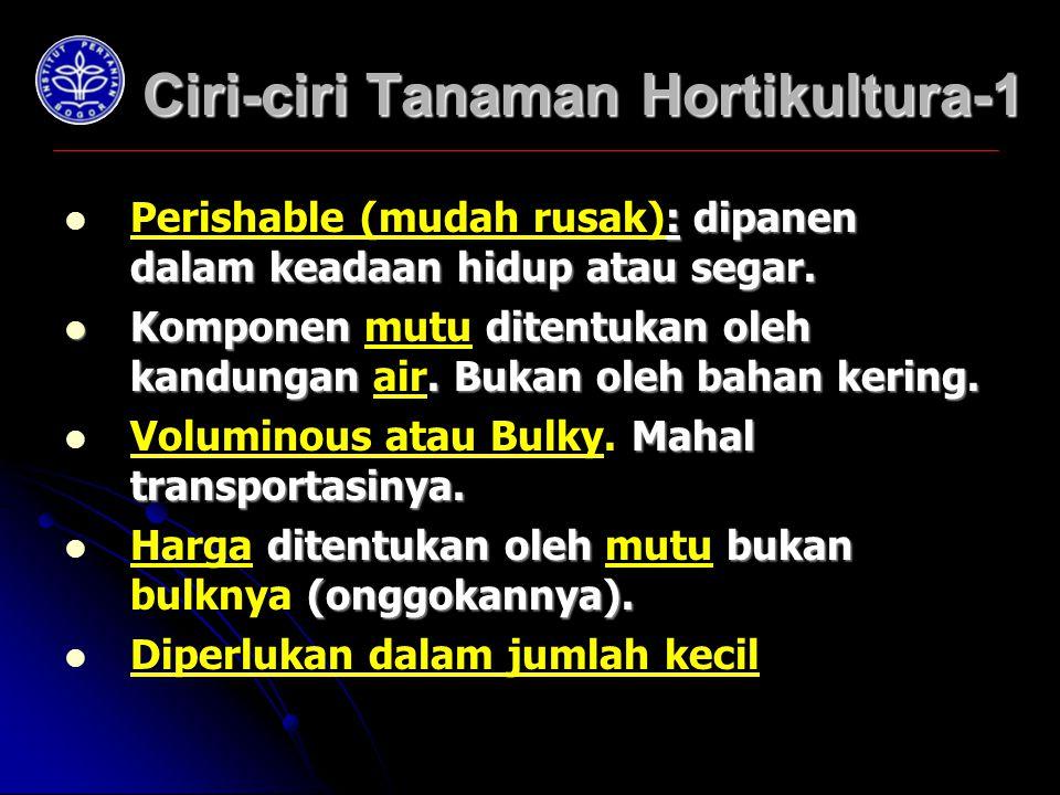 Ciri-ciri Tanaman Hortikultura-1 : dipanen dalam keadaan hidup atau segar.