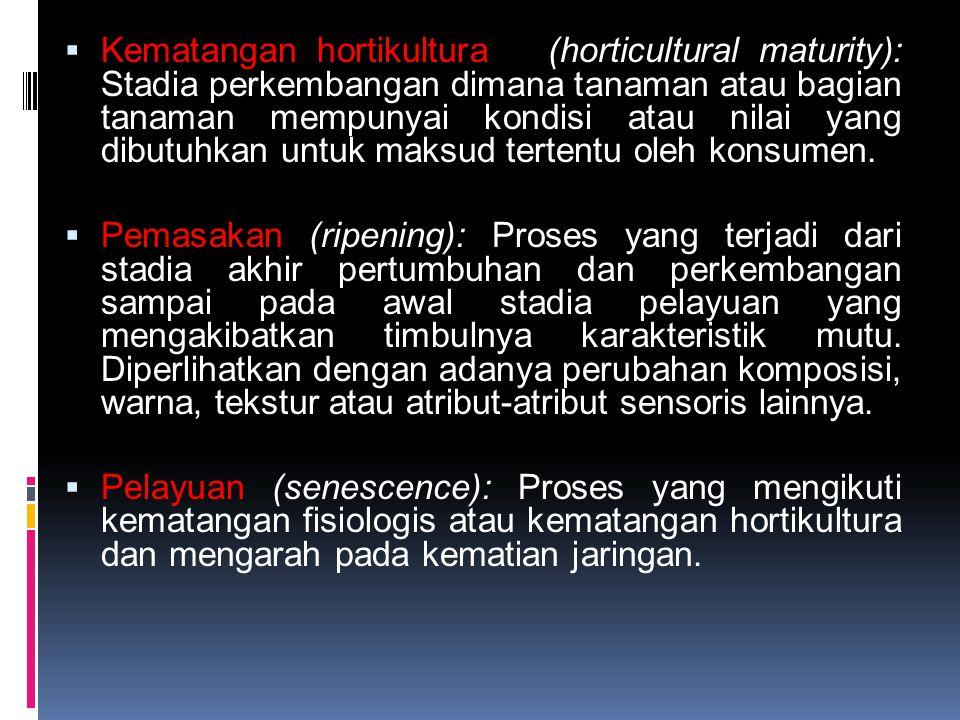  Kematangan hortikultura (horticultural maturity): Stadia perkembangan dimana tanaman atau bagian tanaman mempunyai kondisi atau nilai yang dibutuhka