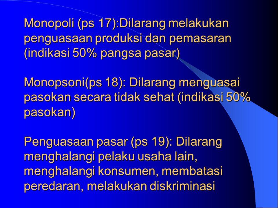 KELOMPOK KEGIATAN 1.MONOPOLI 2.MONOPSONI 3.PENGUASAAN PASAR 4.JUAL RUGI 5.PENETAPAN BIAYA PRODUKSI SECARA CURANG 6.PERSEKONGKOLAN :  T e n d e r  Ra