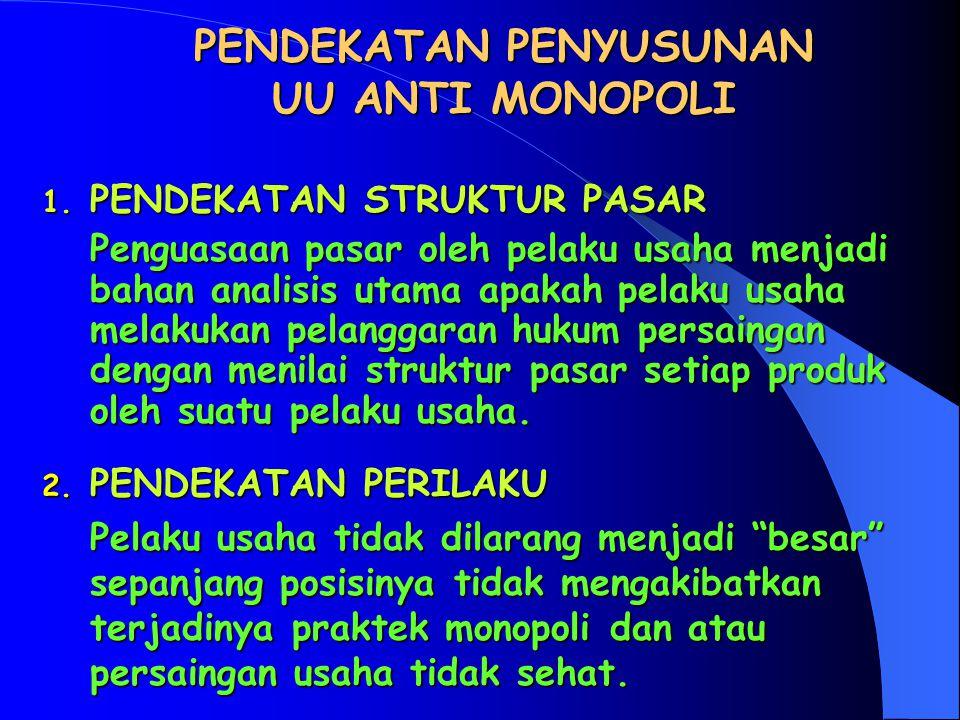 I. UU ANTI MONOPOLI DI INDONESIA  UTK MENCIPTAKAN PERSAINGAN SEHAT UNTUK MENCAPAI EKONOMI PASAR YANG EFISIEN.  AGAR SEMBER DAYA ALAM TERALOKASIKAN S