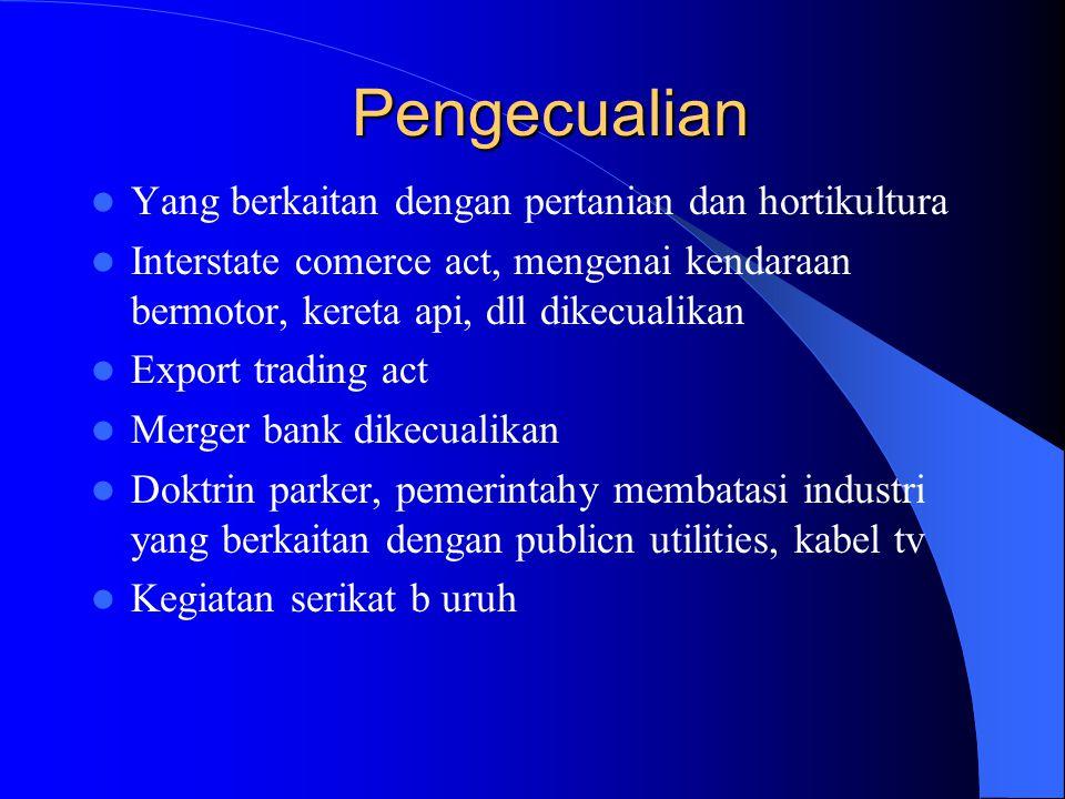 Perbuatan yg Dilarang Monopolisasi (melarang taktik bisnis yang antipersaingan, seperti predatory pricing, refusal to deal, product innovation, levera