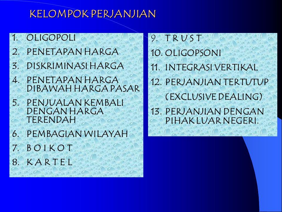 SUBSTANSI UU NO.5/1999 1.Kelompok Perjanjian (Ps. 4 - Ps. 16) 2.Kelompok Kegiatan (Ps. 17 – Ps. 24) 3.Kelompok Posisi Dominan (Ps. 25 – Ps. 29) 4.K P
