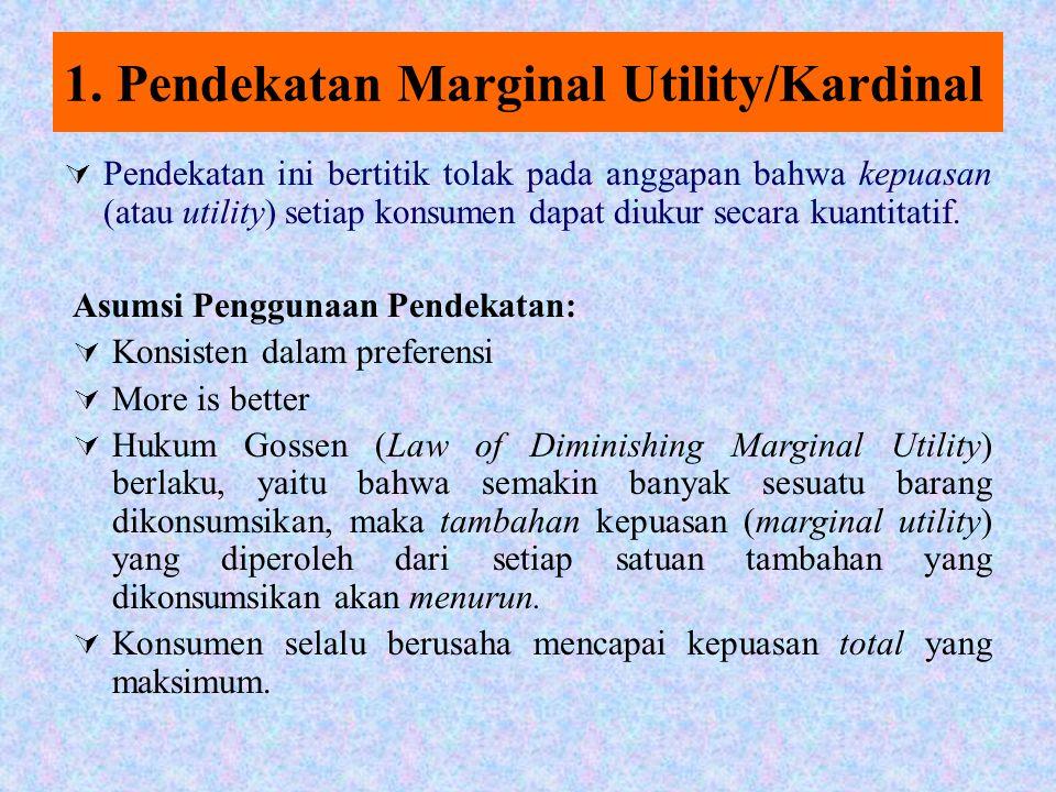 Ada dua pendekatan 1.Pendekatan nilai guna (Utility) kardinal Yaitu kenikmatan konsumen dapat dinyatakan secara kuantitatif 2.Pendekatan nilai guna (Utility) ordinal Yaitu kenikmatan konsumen tidak dapat dinyatakan secara kuantitatif