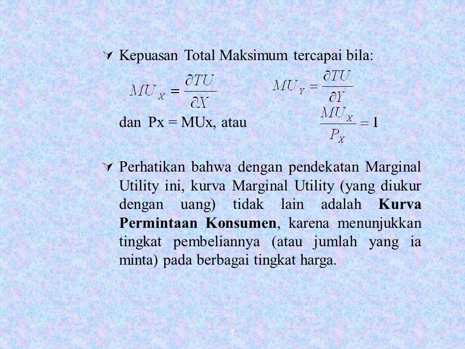 7  Kepuasan Total Maksimum tercapai bila: dan Px = MUx, atau  Perhatikan bahwa dengan pendekatan Marginal Utility ini, kurva Marginal Utility (yang diukur dengan uang) tidak lain adalah Kurva Permintaan Konsumen, karena menunjukkan tingkat pembeliannya (atau jumlah yang ia minta) pada berbagai tingkat harga.