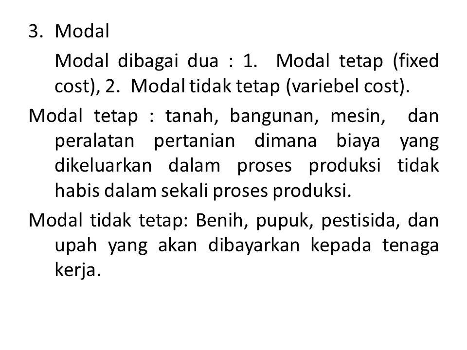 3.Modal Modal dibagai dua : 1. Modal tetap (fixed cost), 2. Modal tidak tetap (variebel cost). Modal tetap : tanah, bangunan, mesin, dan peralatan per