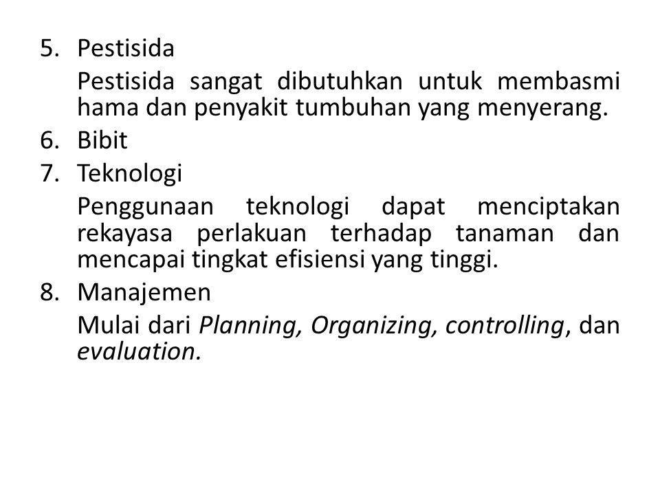5.Pestisida Pestisida sangat dibutuhkan untuk membasmi hama dan penyakit tumbuhan yang menyerang. 6.Bibit 7.Teknologi Penggunaan teknologi dapat menci