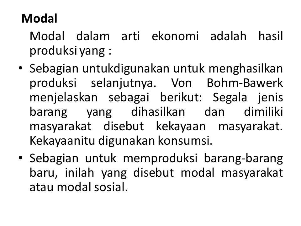 Modal Modal dalam arti ekonomi adalah hasil produksi yang : Sebagian untukdigunakan untuk menghasilkan produksi selanjutnya. Von Bohm-Bawerk menjelask