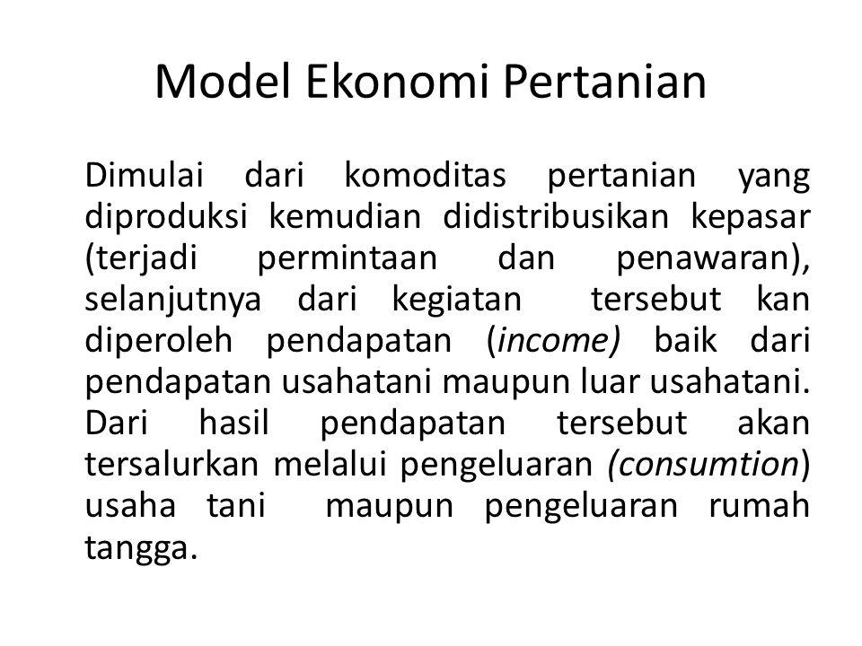 Model Ekonomi Pertanian Dimulai dari komoditas pertanian yang diproduksi kemudian didistribusikan kepasar (terjadi permintaan dan penawaran), selanjut