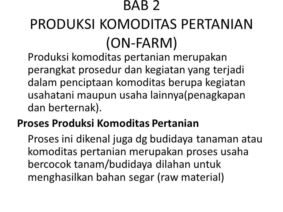 BAB 2 PRODUKSI KOMODITAS PERTANIAN (ON-FARM) Produksi komoditas pertanian merupakan perangkat prosedur dan kegiatan yang terjadi dalam penciptaan komo