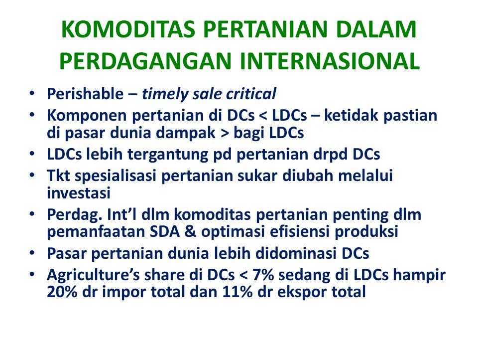 KOMODITAS PERTANIAN DALAM PERDAGANGAN INTERNASIONAL Perishable – timely sale critical Komponen pertanian di DCs bagi LDCs LDCs lebih tergantung pd per