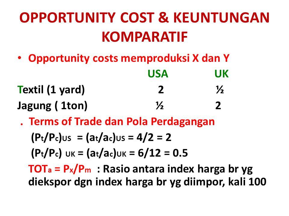 OPPORTUNITY COST & KEUNTUNGAN KOMPARATIF Opportunity costs memproduksi X dan Y USA UK Textil (1 yard) 2 ½ Jagung ( 1ton) ½ 2. Terms of Trade dan Pola