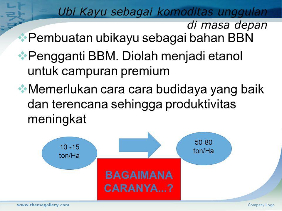 Ubi Kayu sebagai komoditas unggulan di masa depan  Pembuatan ubikayu sebagai bahan BBN  Pengganti BBM. Diolah menjadi etanol untuk campuran premium