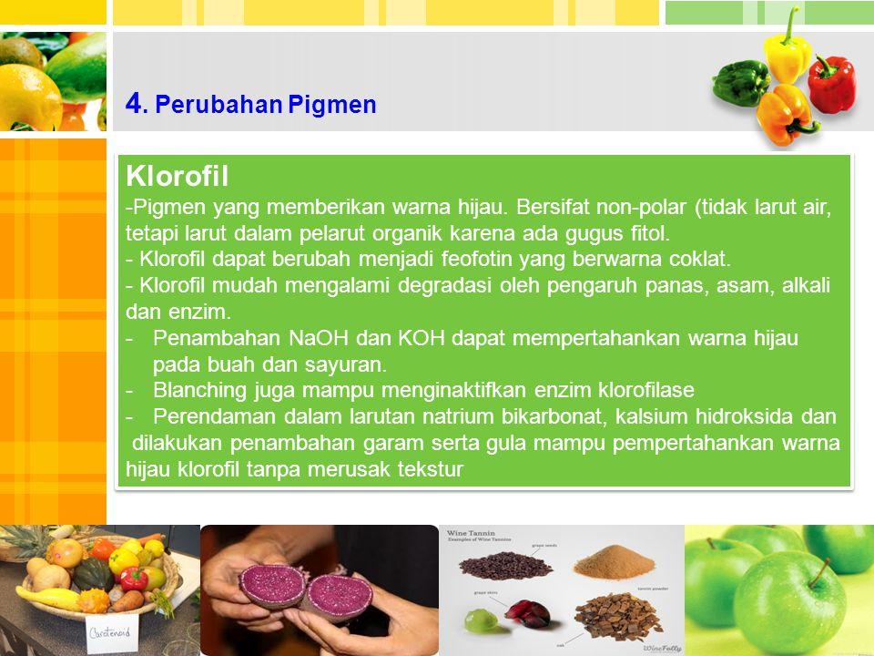 4.Perubahan Pigmen Klorofil -Pigmen yang memberikan warna hijau.