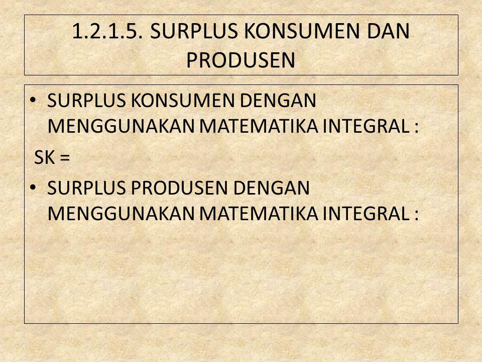 1.2.1.5. SURPLUS KONSUMEN DAN PRODUSEN SURPLUS KONSUMEN DENGAN MENGGUNAKAN MATEMATIKA INTEGRAL : SK = SURPLUS PRODUSEN DENGAN MENGGUNAKAN MATEMATIKA I