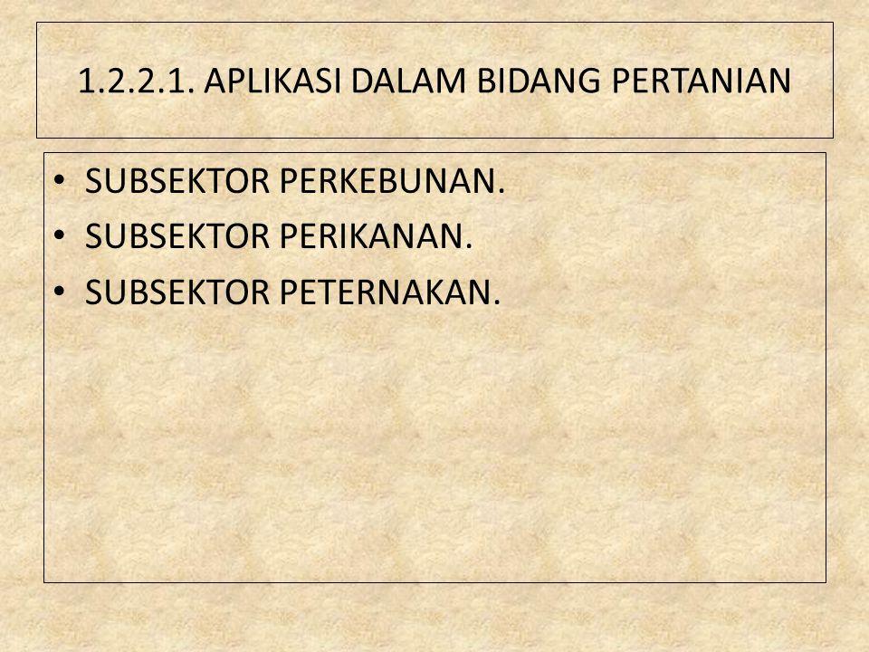 1.2.2.1. APLIKASI DALAM BIDANG PERTANIAN SUBSEKTOR PERKEBUNAN. SUBSEKTOR PERIKANAN. SUBSEKTOR PETERNAKAN.