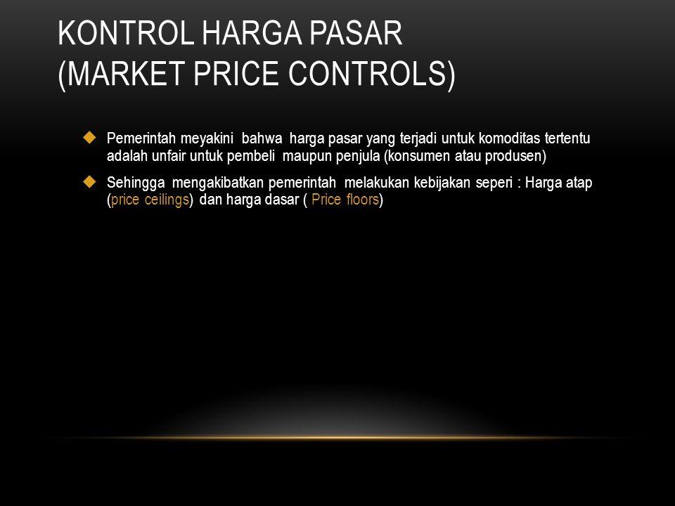 KONTROL HARGA PASAR (MARKET PRICE CONTROLS)  Pemerintah meyakini bahwa harga pasar yang terjadi untuk komoditas tertentu adalah unfair untuk pembeli