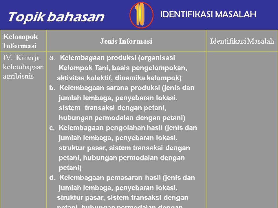 Topik bahasan IDENTIFIKASI MASALAH Kelompok Informasi Jenis InformasiIdentifikasi Masalah III. Kinerja teknologi dan kinerja hasil peternakan Kinerja