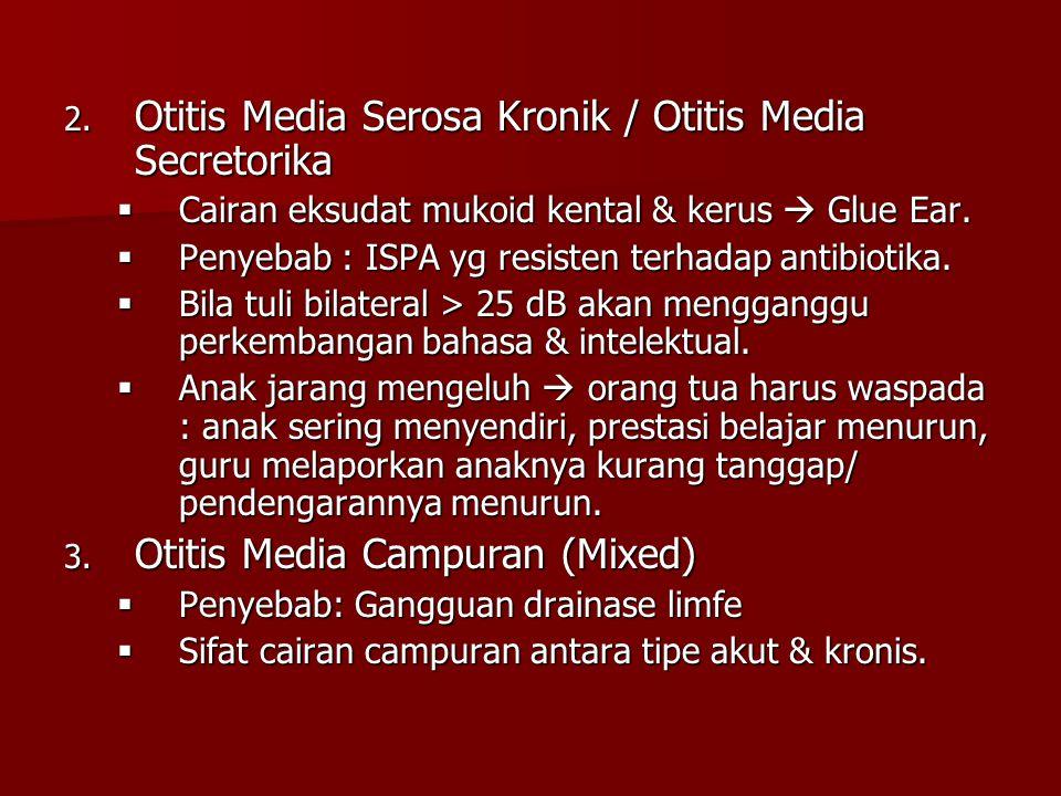 2. Otitis Media Serosa Kronik / Otitis Media Secretorika  Cairan eksudat mukoid kental & kerus  Glue Ear.  Penyebab : ISPA yg resisten terhadap ant