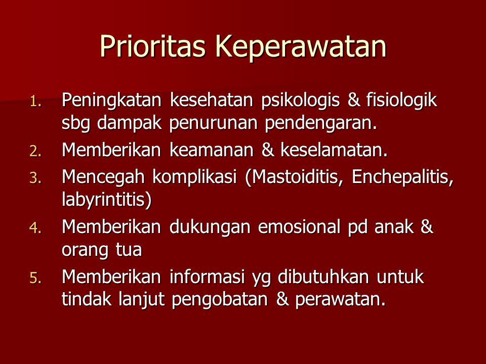 Prioritas Keperawatan 1. Peningkatan kesehatan psikologis & fisiologik sbg dampak penurunan pendengaran. 2. Memberikan keamanan & keselamatan. 3. Menc