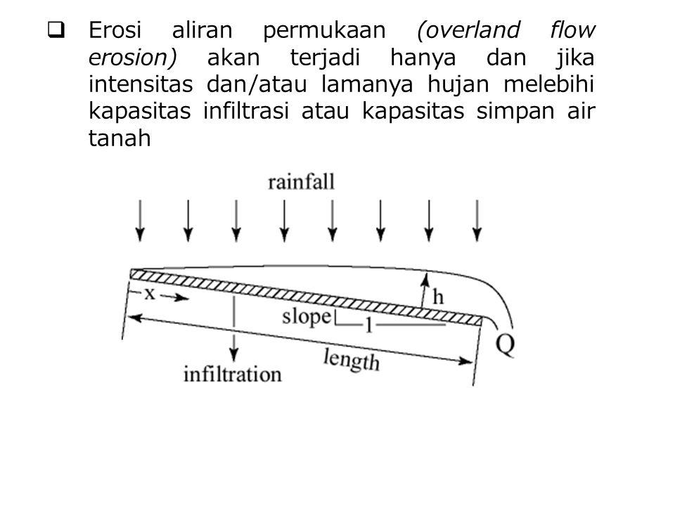  Erosi aliran permukaan (overland flow erosion) akan terjadi hanya dan jika intensitas dan/atau lamanya hujan melebihi kapasitas infiltrasi atau kapa