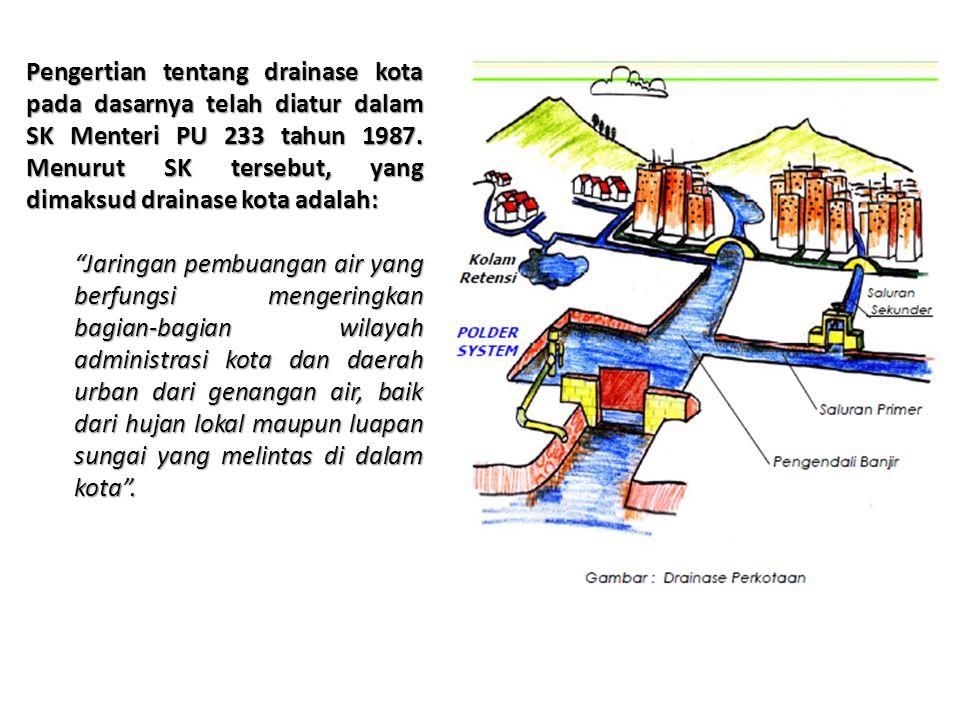 Pengertian tentang drainase kota pada dasarnya telah diatur dalam SK Menteri PU 233 tahun 1987. Menurut SK tersebut, yang dimaksud drainase kota adala