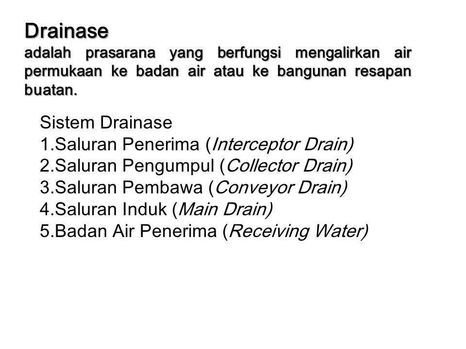 Drainase adalah prasarana yang berfungsi mengalirkan air permukaan ke badan air atau ke bangunan resapan buatan. Sistem Drainase 1.Saluran Penerima (I