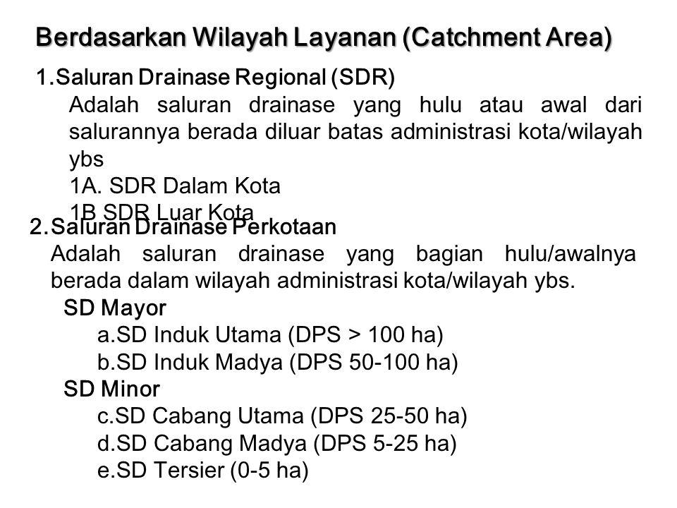 Berdasarkan Wilayah Layanan (Catchment Area) 1.Saluran Drainase Regional (SDR) Adalah saluran drainase yang hulu atau awal dari salurannya berada dilu