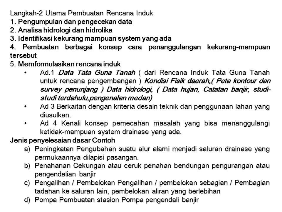 Langkah-2 Utama Pembuatan Rencana Induk 1. Pengumpulan dan pengecekan data 2. Analisa hidrologi dan hidrolika 3. Identifikasi kekurang mampuan system