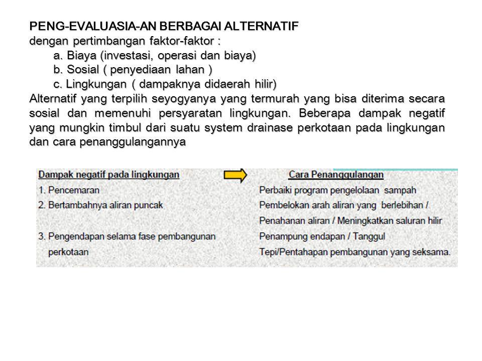 PENG-EVALUASIA-AN BERBAGAI ALTERNATIF dengan pertimbangan faktor-faktor : a. Biaya (investasi, operasi dan biaya) b. Sosial ( penyediaan lahan ) c. Li