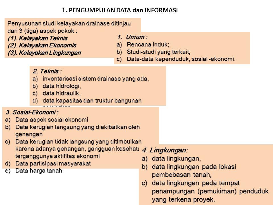 Penyusunan studi kelayakan drainase ditinjau dari 3 (tiga) aspek pokok : (1). Kelayakan Teknis (2). Kelayakan Ekonomis (3). Kelayakan Lingkungan 1. Um