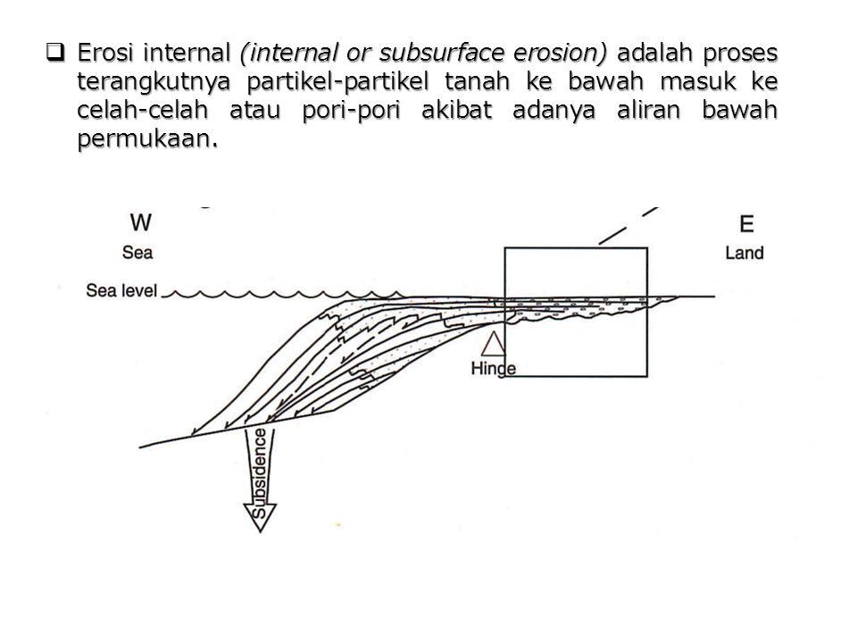  Erosi internal (internal or subsurface erosion) adalah proses terangkutnya partikel-partikel tanah ke bawah masuk ke celah-celah atau pori-pori akib