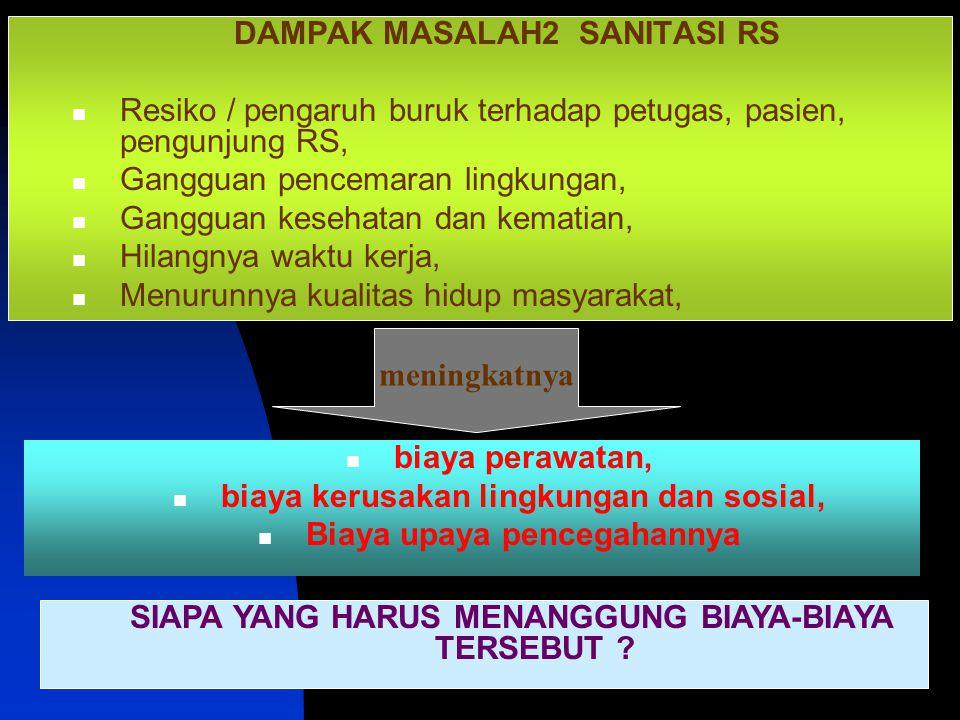 SANITASI RUMAH SAKIT8 DAMPAK MASALAH2 SANITASI RS Resiko / pengaruh buruk terhadap petugas, pasien, pengunjung RS, Gangguan pencemaran lingkungan, Gan