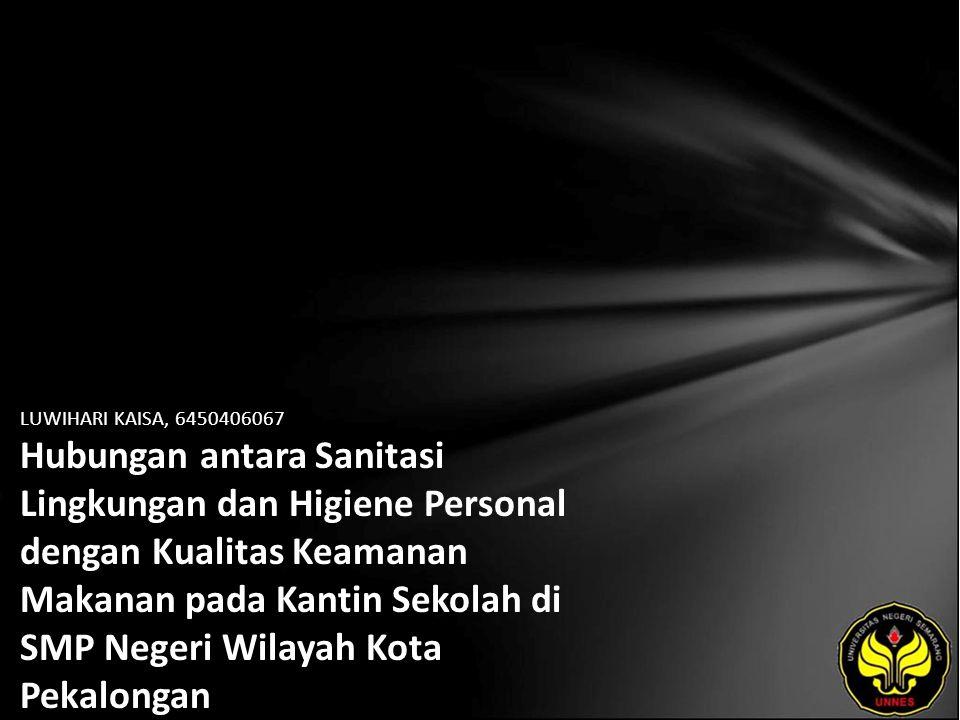 Identitas Mahasiswa - NAMA : LUWIHARI KAISA - NIM : 6450406067 - PRODI : Kesehatan Masyarakat - JURUSAN : Ilmu Kesehatan Masyarakat - FAKULTAS : Ilmu Keolahragaan - EMAIL : kaisar_loui pada domain plasa.com - PEMBIMBING 1 : Eram Tunggul P, S.KM, M.Kes - PEMBIMBING 2 : Rudatin Windraswara, ST - TGL UJIAN : 2011-01-31