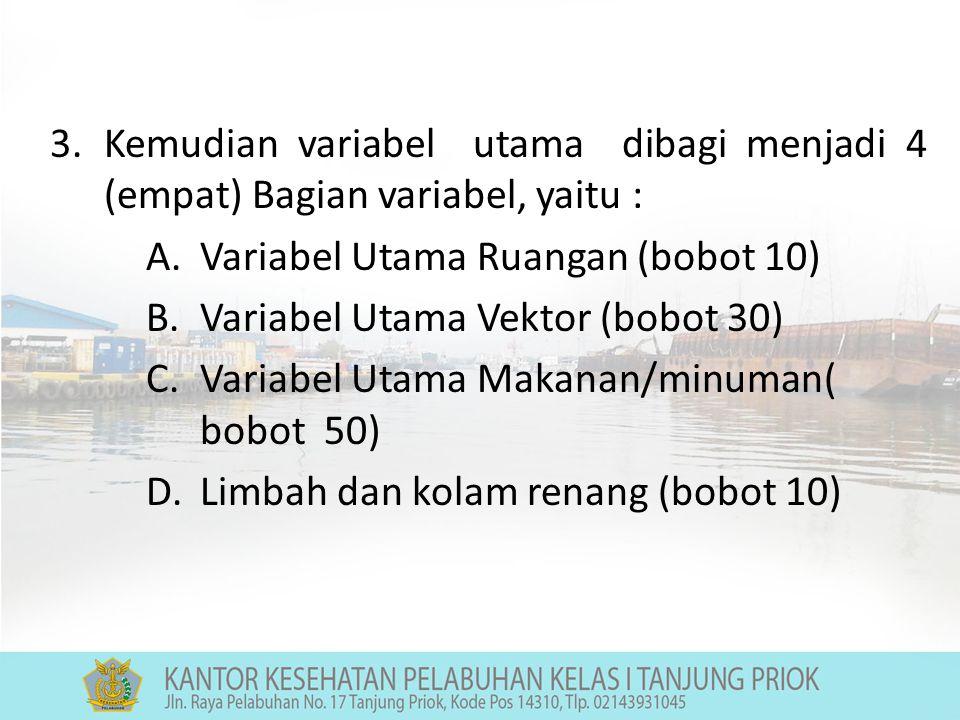 3.Kemudian variabel utama dibagi menjadi 4 (empat) Bagian variabel, yaitu : A.Variabel Utama Ruangan (bobot 10) B.Variabel Utama Vektor (bobot 30) C.Variabel Utama Makanan/minuman( bobot 50) D.Limbah dan kolam renang (bobot 10)