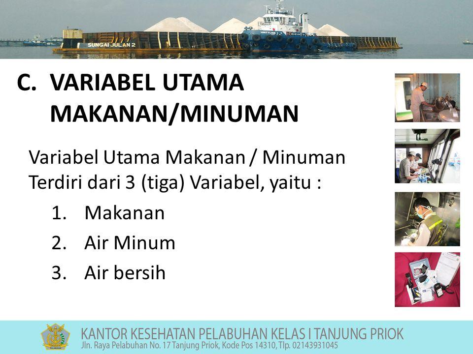 C.VARIABEL UTAMA MAKANAN/MINUMAN Variabel Utama Makanan / Minuman Terdiri dari 3 (tiga) Variabel, yaitu : 1.Makanan 2.Air Minum 3.Air bersih