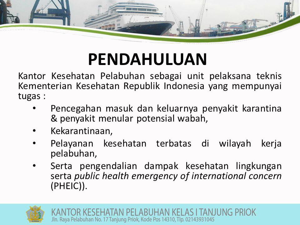 Salah satu kegiatannya adalah : menyelenggarakan fungsi pengawasan dan pemeriksaan hygiene sanitasi kapal laut, karena kapal termasuk salah satu faktor risiko yang dapat menjadi sumber penularan penyakit menular atau kontaminasi termasuk vektor dan reservoir.
