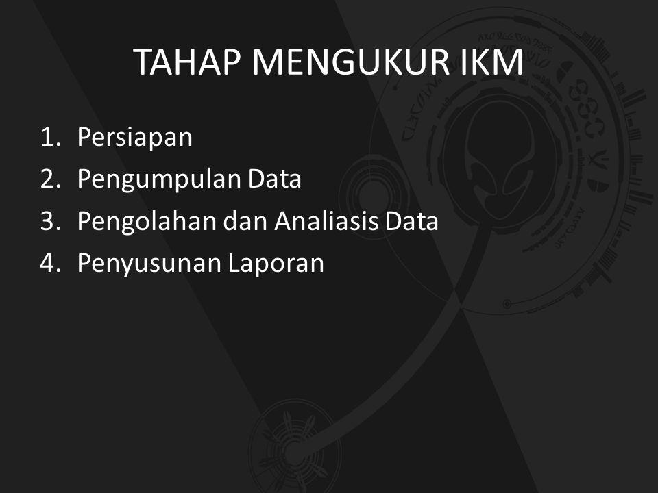 TAHAP MENGUKUR IKM 1.Persiapan 2.Pengumpulan Data 3.Pengolahan dan Analiasis Data 4.Penyusunan Laporan