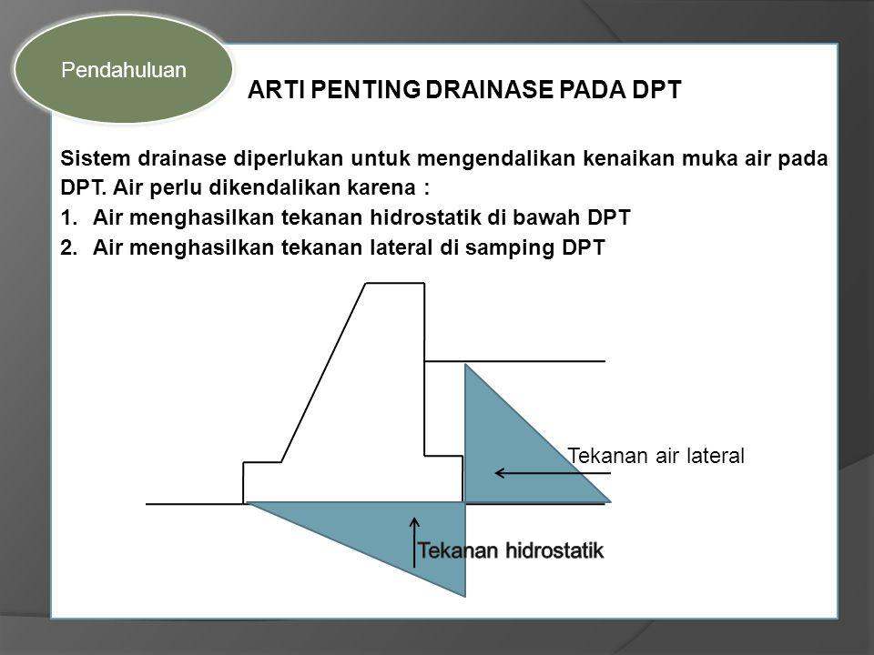 ARTI PENTING DRAINASE PADA DPT Sistem drainase diperlukan untuk mengendalikan kenaikan muka air pada DPT. Air perlu dikendalikan karena : 1.Air mengha