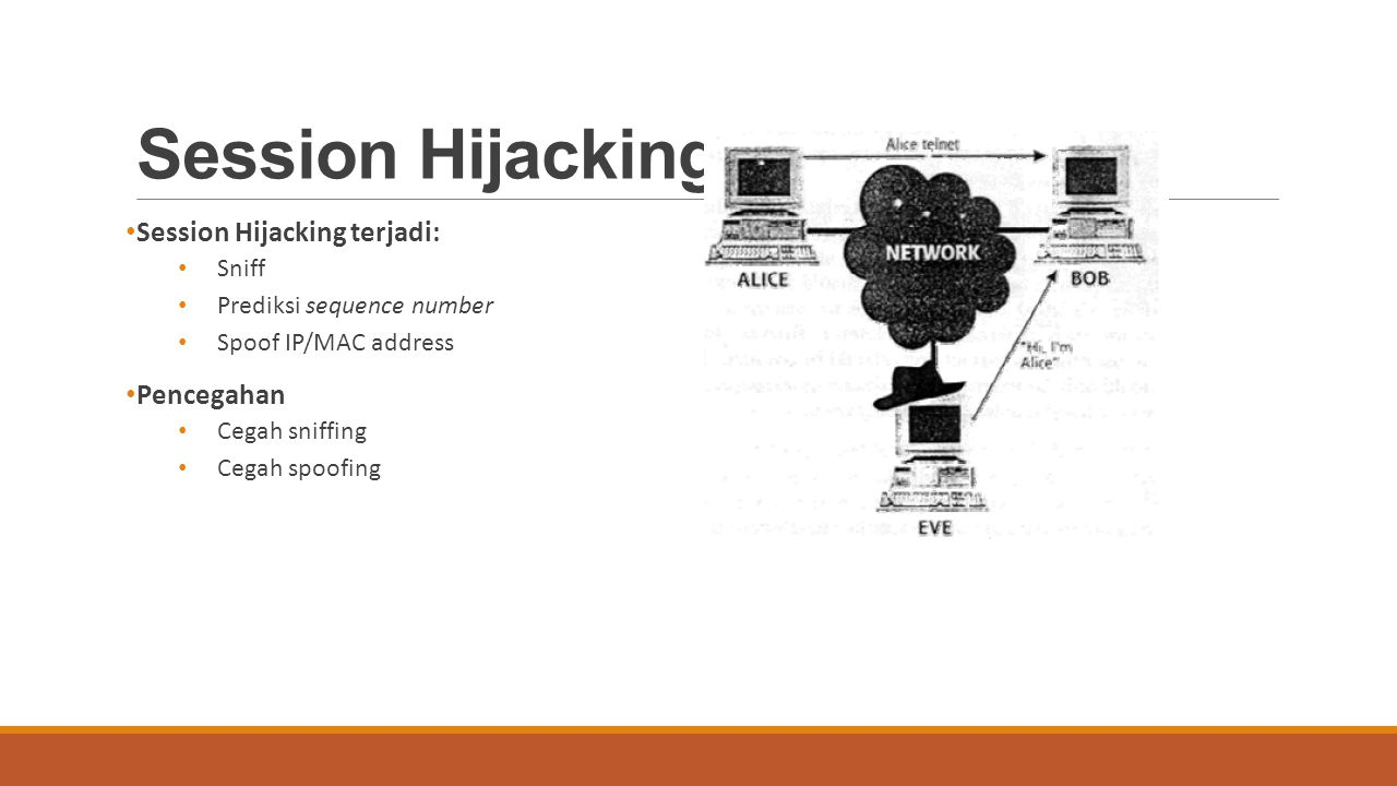 Session Hijacking Session Hijacking terjadi: Sniff Prediksi sequence number Spoof IP/MAC address Pencegahan Cegah sniffing Cegah spoofing