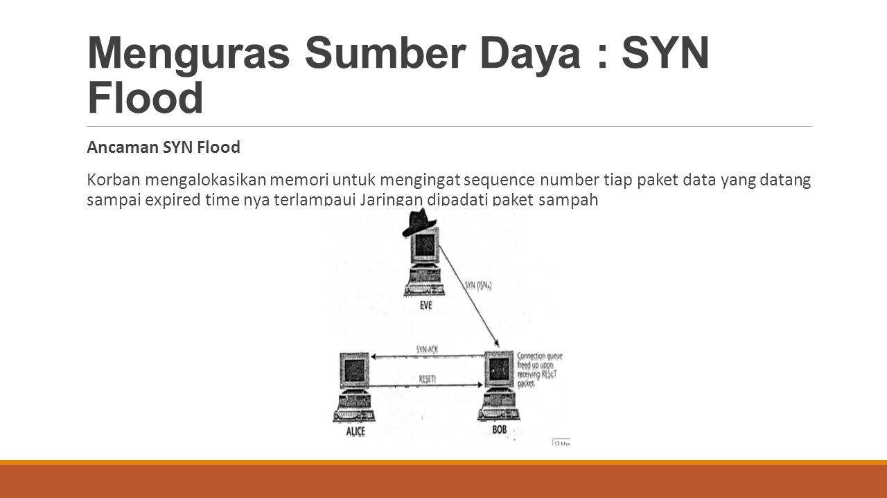 Menguras Sumber Daya : SYN Flood Ancaman SYN Flood Korban mengalokasikan memori untuk mengingat sequence number tiap paket data yang datang sampai exp