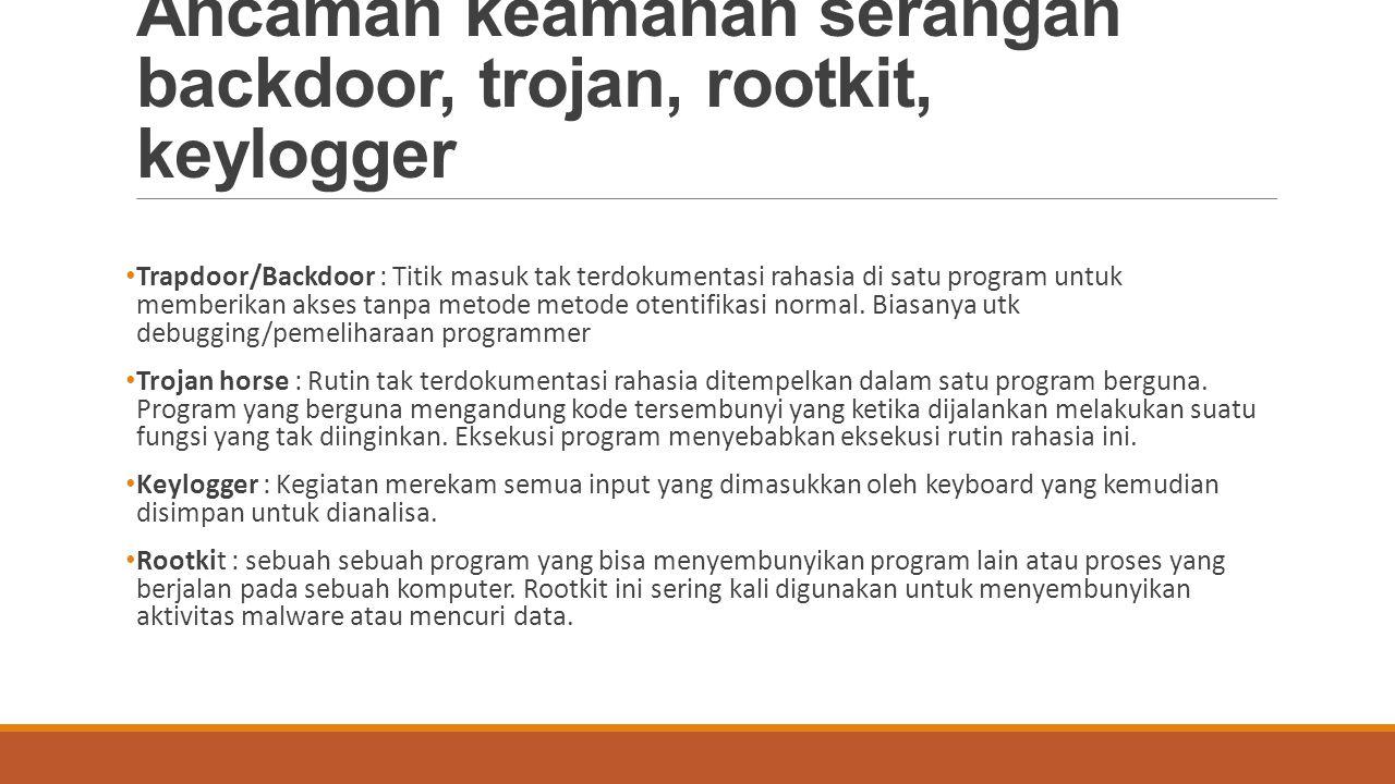 Ancaman keamanan serangan backdoor, trojan, rootkit, keylogger Trapdoor/Backdoor : Titik masuk tak terdokumentasi rahasia di satu program untuk member