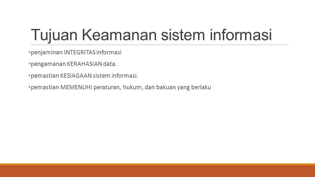 Tujuan Keamanan sistem informasi penjaminan INTEGRITAS informasi pengamanan KERAHASIAN data. pemastian KESIAGAAN sistem informasi. pemastian MEMENUHI