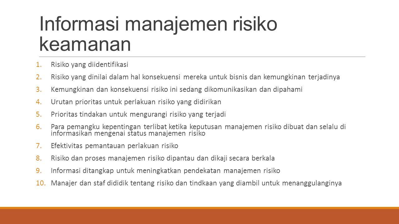 Informasi manajemen risiko keamanan 1.Risiko yang diidentifikasi 2.Risiko yang dinilai dalam hal konsekuensi mereka untuk bisnis dan kemungkinan terja