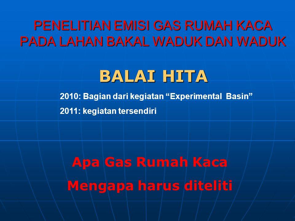"""PENELITIAN EMISI GAS RUMAH KACA PADA LAHAN BAKAL WADUK DAN WADUK BALAI HITA 2010: Bagian dari kegiatan """"Experimental Basin"""" 2011: kegiatan tersendiri"""